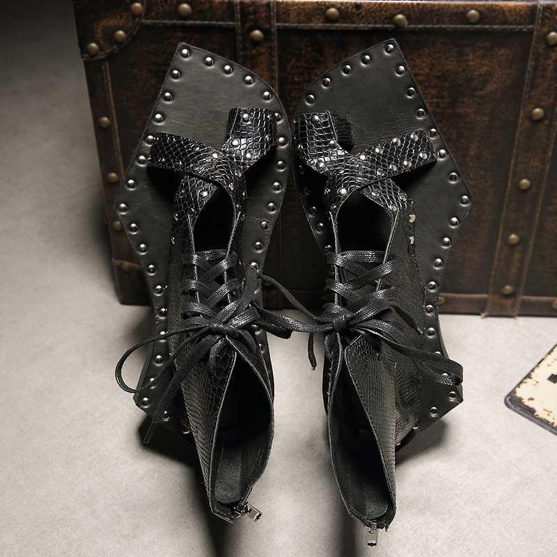 Hakiki deri Snakeskin pist rahat sandalet yarım çizmeler geometrik şekil taban tıknaz erkek ayakkabı Vintage gladyatör sandalet