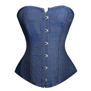 Image 1 - FLOWER SKY Wonder Beauty Blue Denim Buckle overbust Corset sexy Lingerie waist cincher bustier Lace up boned lingerie corset