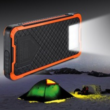 Wopow Solar power bank 20000mah Large Capacity Mobile Phone Battery Portable Charger Power Supply Dual USB Ports With Holder