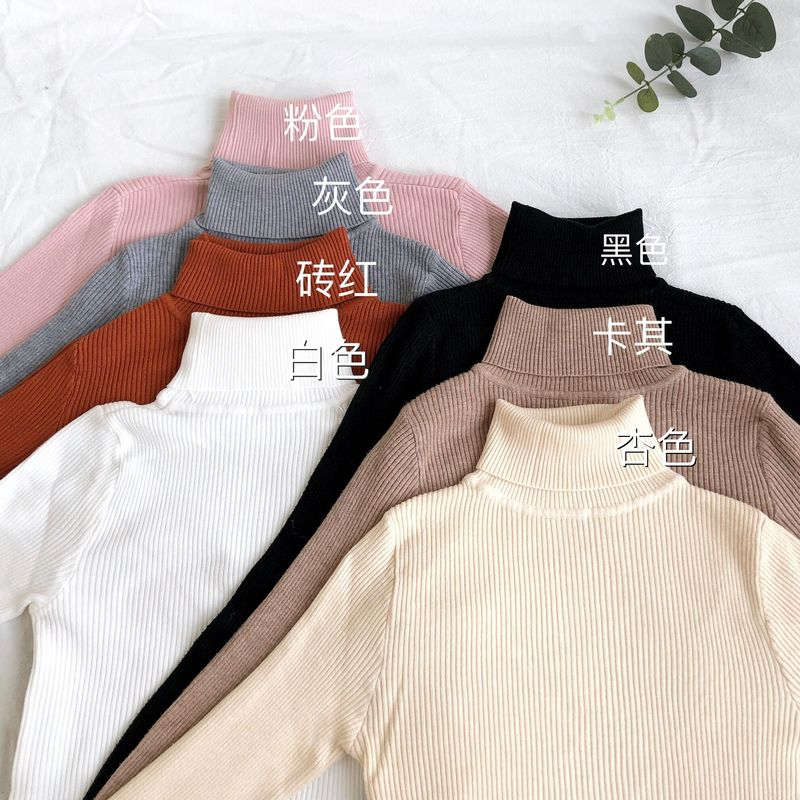 Women 7 Colors Korean Style Solid Wild Multi-color Thick High Collar Knit Long-sleeved Sweaters