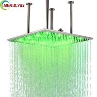 На потолке, светодиодные Насадки для душа 20 дюймов Большой Размеры LED латунь матовый Никель душем смеситель для Ванная комната