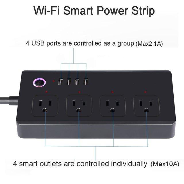WiFi Power Strip 4 Outlet Plug