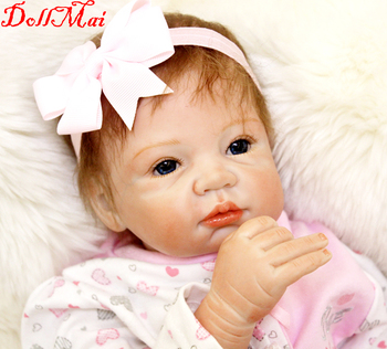 Wholesale Reborn Baby Doll 22 Inch 55 cm Newborn Silicone Babies Girl Cloth Body Lifelike bebe dolls Toy Kids Birthday Gift