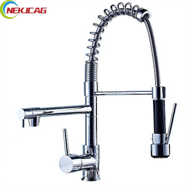 Us 46 9 40 Off Wholesale And Retail Single Lever Kitchen Faucet Chrome Finish Spring Pull Down Sprayer Single Handles Faucet In Kitchen Faucets