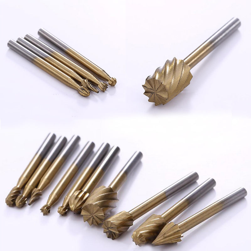 10pcs/Set 3mm HSS Titanium Routing Rotary Milling Rotary File Cutter High Quality Rotary Files For Rotary Tools 10pcs set hss routing wood rotary milling rotary file cutter woodworking carving carved knife cutter tools accessories