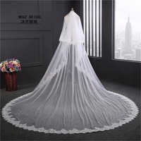 Super Wide Bridal Veils New 2017 Two Layers 3.5 m White/Ivory Bridal Accessory Veil For Brides Lace Wedding Veil with Comb