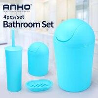 ANHO 4pcs/set Plastic Bathroom Set Trash Bin Toilet Brush Soap Dish Bathroom Accessories Sets