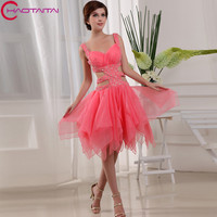 Real Photo Summer Sweetheart Neck Crystal Beading Short Mini Homecoming Dresses Asymmetrical New Graduation Cocktail Party Dress
