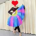 New Arrival 1pair(L+R) 100% real Silk Belly Dance Fans Veil Multi-color gradient Stage Show Props Fans double-side silk HOT