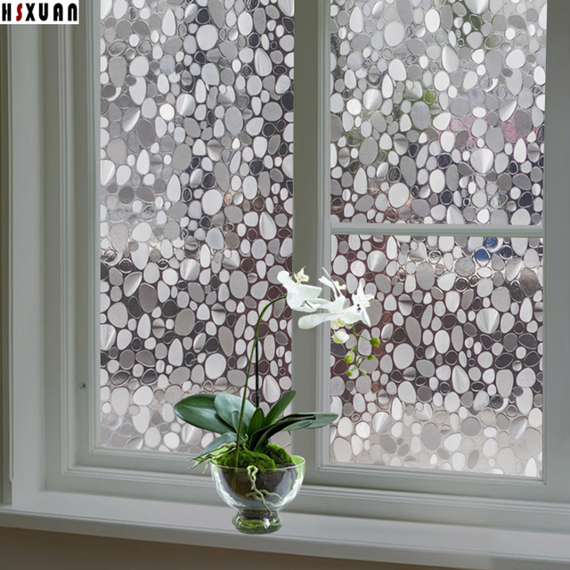 Decorative Window Insulation Film 45x100cm Pvc 3d Pebbles Translucent Self Adhesive Glass Stickers Hsxuan Brand
