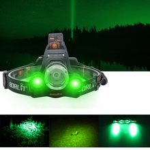 20W LED HeadLamp with White Green LED lights, 3 Lighting Modes, USB Rechargeable, Waterproof Fishing Lights for Hiking,Camping