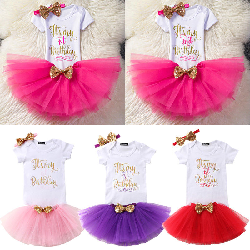 Sequins Baby Girls Kids First Second Birthday Short Sleeves Romper+ Party Bow Tulle Tutu Skirt+Headband 2Pcs Outfit 1 year tutu baby girl clothing sets infant romper tulle skirt headband kids party costume bebes one birthday outfits vestidos