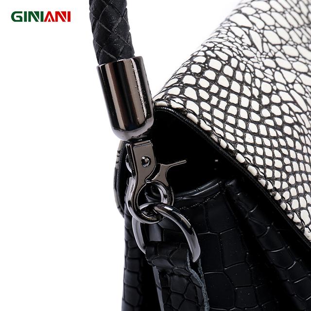GINIANI Genuine Real Leather Alligator Revolving Button Cute Trapeze Handbag Tungsten Steel Hardware Little Crossbody Bags