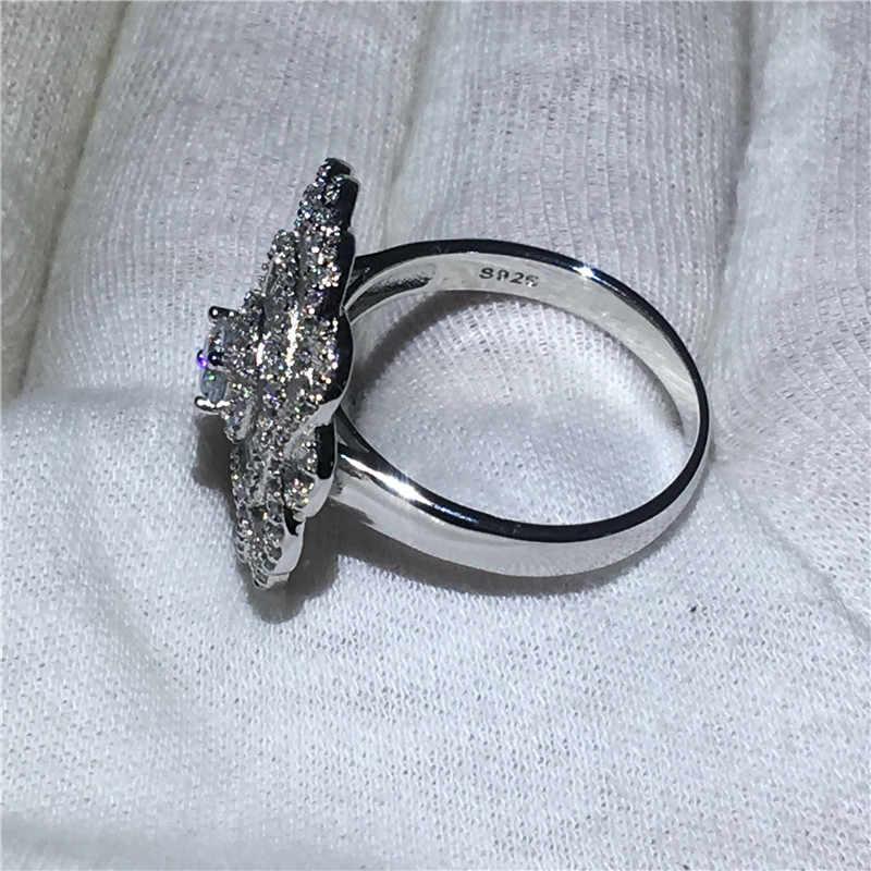 Choucong женское кольцо в форме большого цветка 5A Циркон Cz 925 пробы серебро обручальное кольцо кольца для мужчин и женщин ювелирные изделия на палец