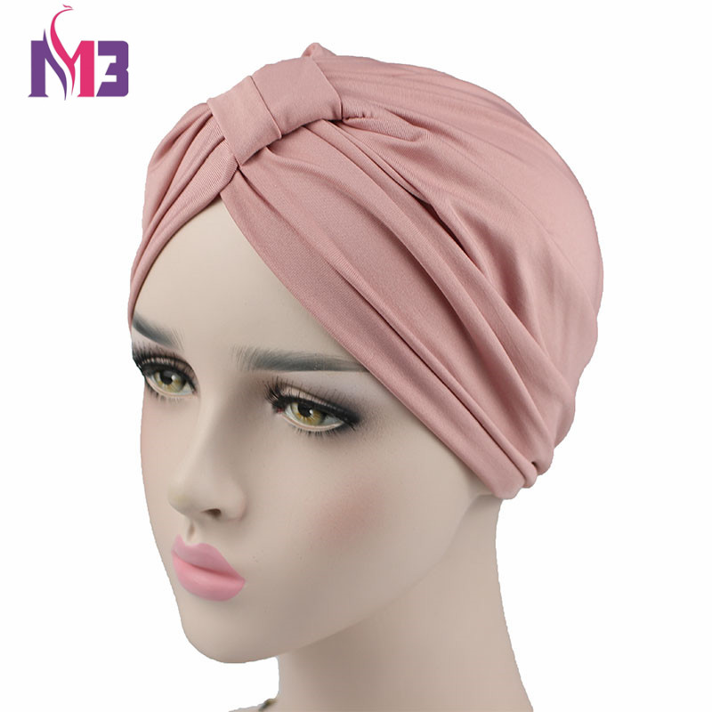 New Fashion Women Stretchy Modal Cotton Turban Dome Cap   Headwear   for Chemo Twist Hijab Head Scarves Ladies Bonnet Cap Turbante