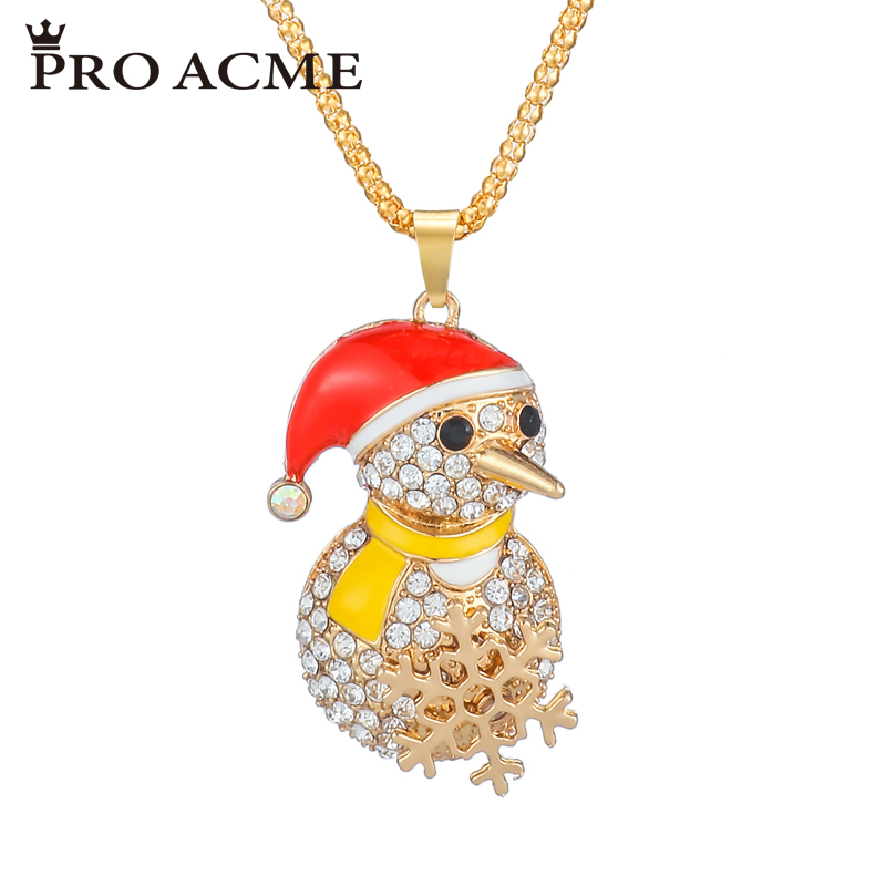 Pro Acme Christmas Gift Crystal Snowman Necklaces & Pendants Charm Sweater Chain Enamel Women Long Necklace Jewelry PN0817