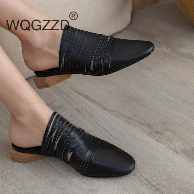 2019 European Summer Slippers Women Genuine Leather Mules Shoes Flat Women Slippers Size 34 40