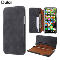 Dulcii For Apple IPhone 8 Case PU Leather Folio Flip Wallet Shell For IPhone 8 Black