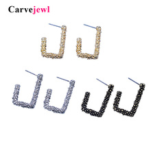 Carvejewl stud earrings simple unique geometric for women jewelry plastic post anti allergy New Korean
