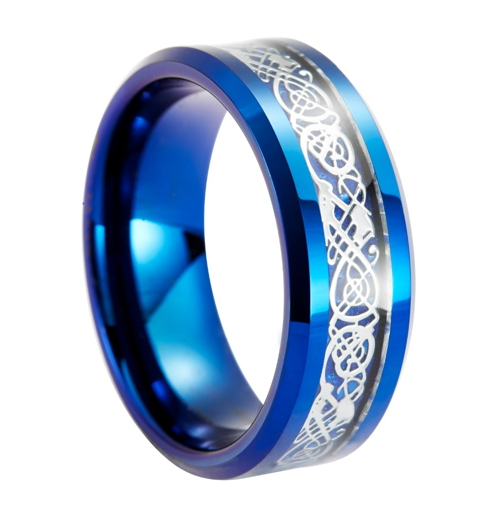 8mm Bluetungsten Ring Celtic Silber Drachen Carbon Fibre Inlay