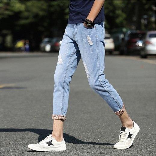 2017 Summer Men Jeans Ripped Biker Hole Denim Patches Harem Pant Casual Japan Style Mens Straight Slim Jeans Trousers 2017 fashion patch jeans men slim straight denim jeans ripped trousers new famous brand biker jeans logo mens zipper jeans 604