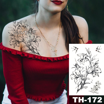 Waterproof Temporary Tattoo Sticker Sketch line peony pattern tatto Water Transfer Rose body art fake arm tatoo For Women 3