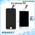 10 unids/lote envío de dhl el ems para el iphone 5s pantalla lcd con Marco Táctil de Calidad AAA No Pixel Muerto Sin Mancha Nueva Prueba