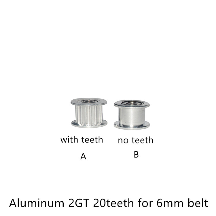 2GT Pulley H Type Wheel Driven  Perlin Idler GT2 Timing 20 Teeth Bore 3mm 4mm 5mm Width 6mm