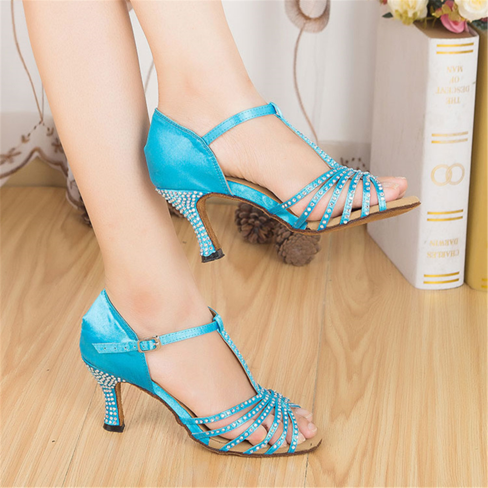 d3f32b9499555 2015 New Brand Beautiful Rhinestone Heels Bule Girls Latin Dance Shoes  Salsa Ladies Ballroom Shoes For Dance Customizable-in Dance shoes from  Sports ...