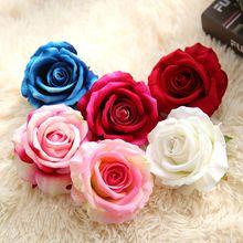 20pcs 7Colors Silk Rose Flower Head Artificial Flowers DIY Wedding Decoration Home Party Fake bouquet