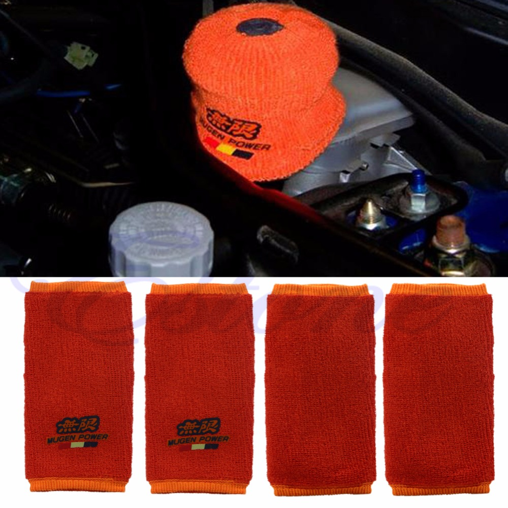2x Orange JDM Fire Proof Mugen Tank Reservoir Cover Socks For Civic Accord JDM