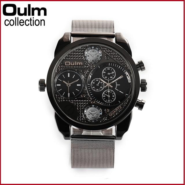 Oulm 9316 Weave Stainless Steel Band Men Wristwatch Multi Time Zone Watches Sport Net Watch