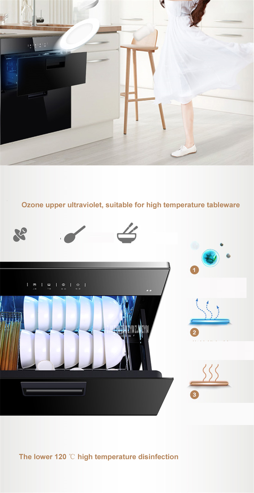 MXV-ZLP90Q15 kitchen 86L electronic touch control embedded disinfection cabinet infrared ultraviolet disinfection cupboard 4