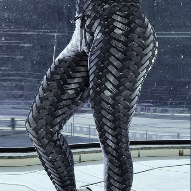 2018 New Black Weaving Printed Tie Women Fitness Leggings Push Up Workout Leggings Elastic Female Sporting Leggins Pants
