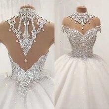 Księżniczka puszysta luksusowa suknia ślubna 2020 suknie ślubne dla panny młodej Plus rozmiar tiul diament kryształ zroszony Custom Made XJ06S