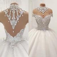 Princess Fluffy Luxury Wedding Dress 2019 Wedding Gowns for Bride Plus Size Tulle Diamond Crystal Beaded Custom Made XJ06S