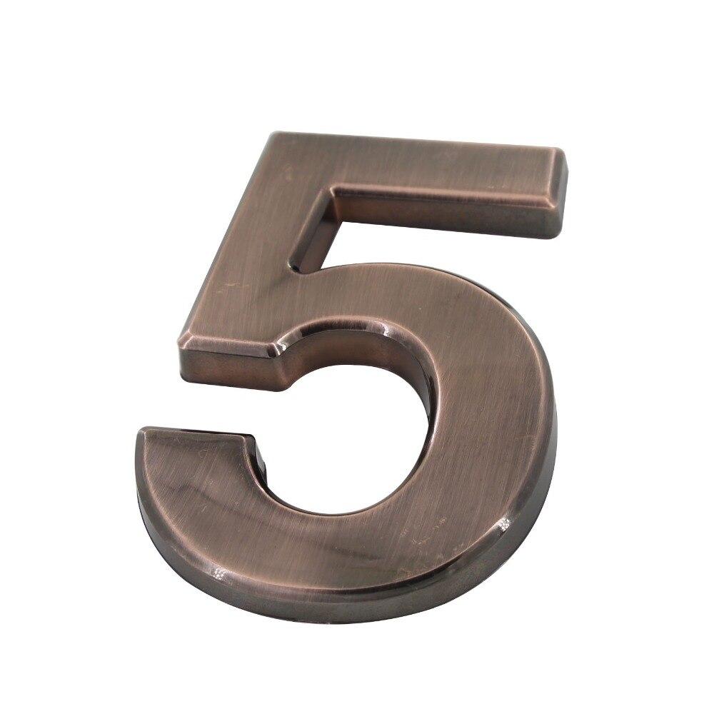 Number 5# Red Bronze Color Digital House Number ABS Plastic 100mm Height Gate Door Number Door Plate набор пиво без водки бокал 500мл стопка 50мл стекло