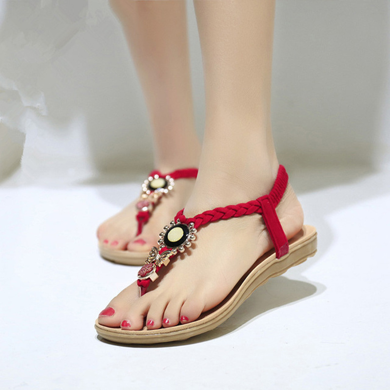 Summer Women Sandals Flat Casual Sandals Fashion Slip On Shoes Butterfly-knot Beach Shoes Women zapatos mujer black red summer sweet bowtie flat sandals slip toe beach sandals butterfly knot flat sandals shoes plus size 44