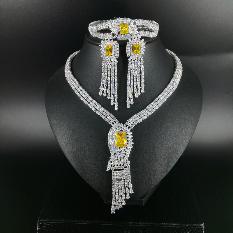 2018new fashion Luxury tassel YELLOW square zircon necklace earrings bracelet wedding bridal banquet dressing jewelry set historical sticker dolly dressing 1940s fashion