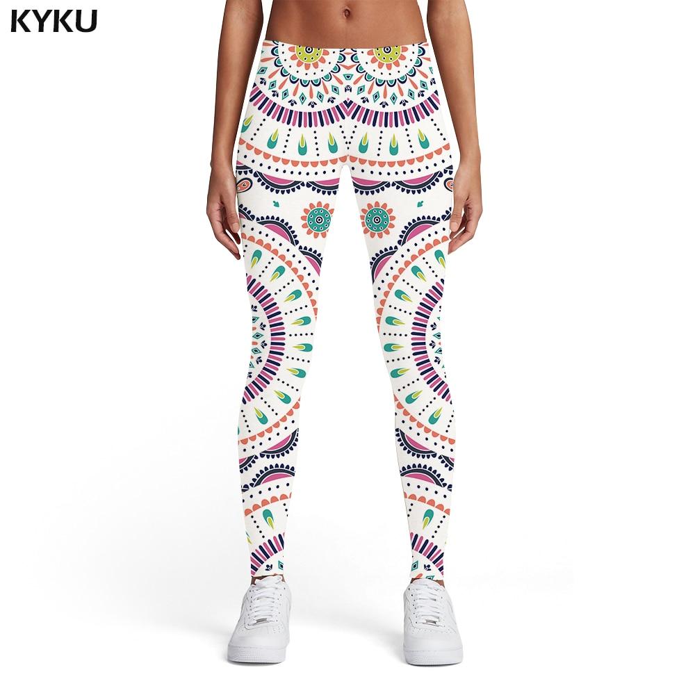Kyku Brand Graphics Leggings Women Vintage Ladies Colorful 3d Print Harajuku Spandex Geometric Sport Womens Leggings Pants