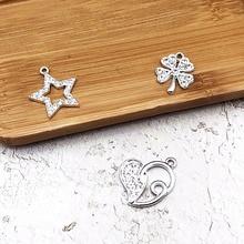 10pcs Star Shining Rhinestone Charms Heart Pentagram Four-leaf Clover Silver Metal Pendants Glitter DIY Jewelry Accessory YZ226