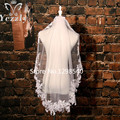 1.5M White/Ivory Elbow Length Short Lace Edge Wedding Veils 2017 Real Pictures Applique Bridal Veil With Crystal For Bride WB60