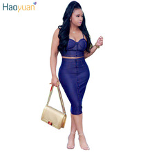HAOYUAN Sexy backless 2017 two piece denim dress women vintage bodycon summer dress party short dresses casual blue vestidos