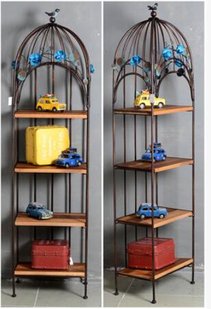 French Iron Cage Shape Shelf Showcase Storage Shelf Four-story Bookcase Bag Clothing Shoes Soy Shop shelf