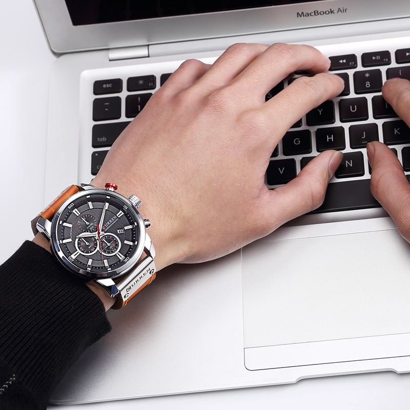 CURREN 8291 Luxury Brand Men Analog Digital Leather Sports Watches Men\`s Army Watch Man Quartz Clock Relogio Masculino drop shipping wholesale cheap (24)