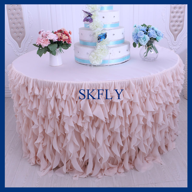 CL037D 5ft round drop 30 birthday wedding blush pink or light pink curly willow chiffon table