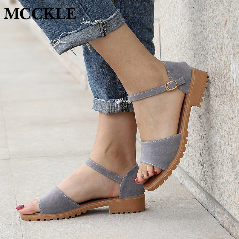 MCCKLE Women Sandals Flock Buckle Strap Flats Sewing Cover Heel Female Shoes Comfortable Low Heel For Ladies Fashion Footwear mcckle female flat shoes women cut outs autumn espadrilles fashion flock buckle strap sewing flats casual solid footwear shoe