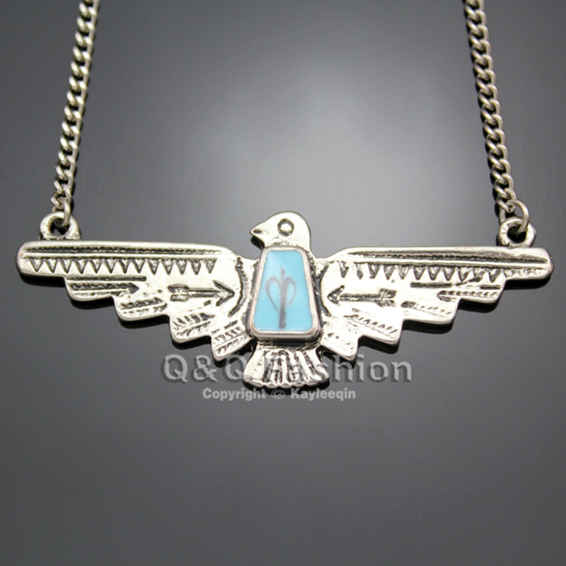 Fashion Vintage Silver Eagle Pendant Turquoise Navajo Zuni Style Statement Chain Necklace Tribal
