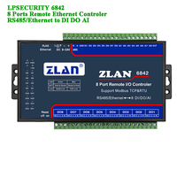 Remote IO Controler 8 Ports RS485/Ethernet to DI DA AI Modbus RTU Digital Input Output Analog 8 channels I/O module ZLAN6842