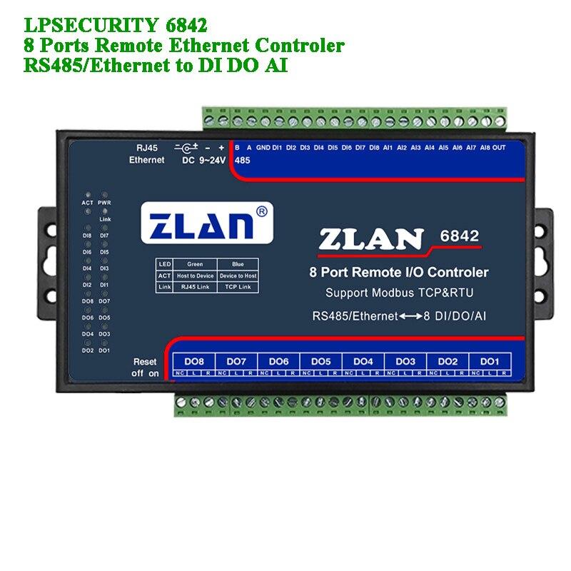 Remote IO Controler 8 Ports RS485/wifi/Ethernet To DI DA AI Modbus RTU Digital Input Output Analog 8 Channel I/O Module ZLAN6844